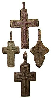 Ancient lot of 4 bronze Believer crosses Middle Ages. #102