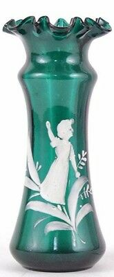 Victorian Mary Gregory Bohemian Glass Ruffle Blue-Green Vase
