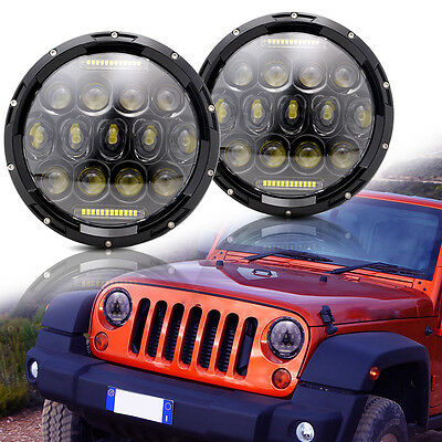 2Pcs 7'' LED Round Headlight DRL Hi-Lo Beam For Suzuki Samurai SJ410 Headlamps