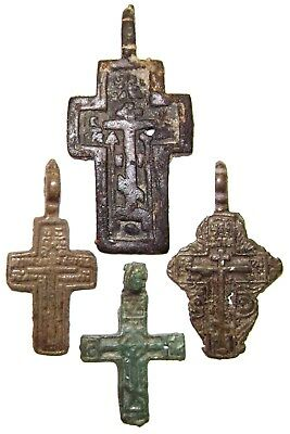 Ancient lot of 4 bronze Believer crosses Middle Ages. #104