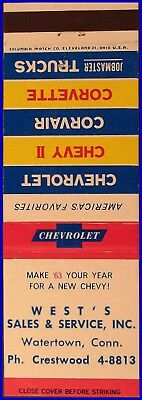 MINT Dated 1963 West's Chevrolet Matchbook Cover Matchcover - Watertown CT