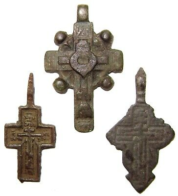 Ancient lot of 3 bronze Believer crosses Middle Ages. #105