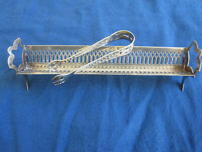 Vintage Webster Sterling Silver Sugar Cube Cracker Cheese Server Tray & Tong Set