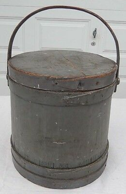 "Antique 19th Century Firkin in Old Gray Paint -12"" Tall - Nails Not Staples"