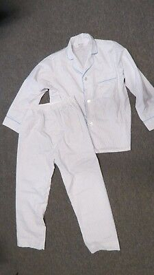 Vintage Mens Diplomat Pajama's Set 1960's White With Stripes Top  Pants Medium
