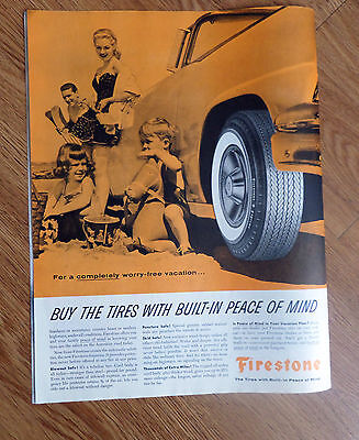 1956 Firestone Tire Ad Vacation Convertible Automobile  Family at the Beach