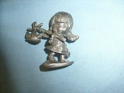 Pewter Figurine  Hallmark ?  Little Girl And Cat - Cute /   F2