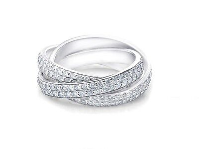 940e0f089 NEW 18K White Gold Plated Rolling Eternity Ring with Swarovski Crystal by  Barzel