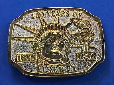 100 Years Of Liberty 1886-1986 Vintage Belt Buckle Lady Liberty Statue