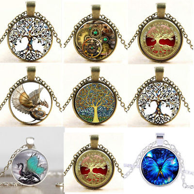 Vintage Tree of Life Glass Cabochon Bronze Chain Pendant Necklace Jewelry YK87