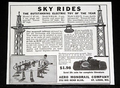 1933 Old Magazine Print Ad, Aero Monorail Co, Sky Rides, Elect. Toy Of The Year!