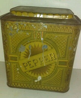 Vintage Amazing Pepper Spice Tin Metal Canister Child Bird Great Graphics Old