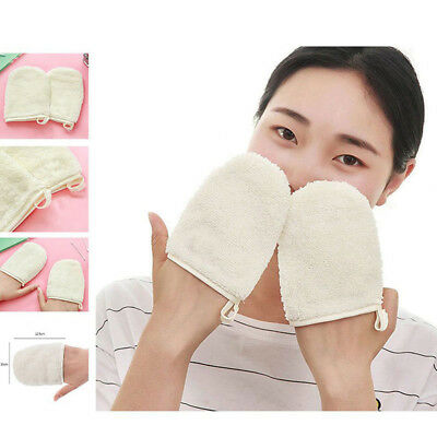 1Pair Reusable Soft Microfiber Facial Cloth Towel Makeup Remover Cleansing Glove