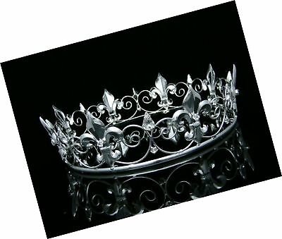 Men's Full King's Crown for Theather Prom Party - Clear Crystals Silver Plati...