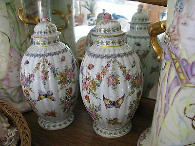 Antique Pair Rare Paris Porcelain Urn Vases Bourdoir Bloch Butterfly Insect 10""