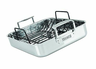 Viking 3-Ply Stainless Steel Roasting Pan with Nonstick Rack 16 Inch by 13 Inch
