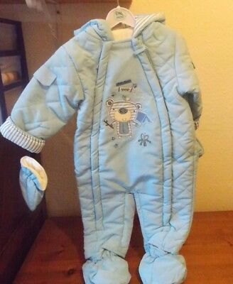 Baby Snowsuit Blue All in One With Mitts and Feet - REDUCED