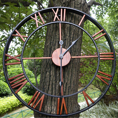 Large Outdoor Garden Wall Clock Big Roman Numerals Open Face Metal 45cm, 58cm UK