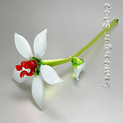 Glass figurine flower made of colored glass. Lenght 16 cm / 6.4 inch!