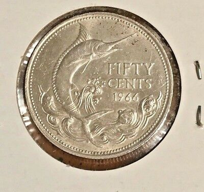Uncirculated 1966 Bahamas 50 Cents Silver Foreign Coin