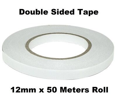 12mm Double Sided Clear Sticky Tape Roll Strong 50M Permanent Adhesive Sellotape