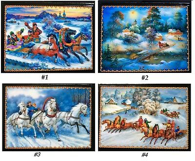 RUSSIAN LACQUER BOX/LIFESTYLE/3''x 4''/RUSSIAN WINTER/COUNTRYSIDE/3-HORSE SLEIGH