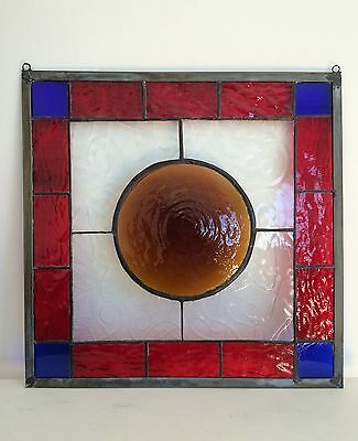 Stained Glass Hanging Panel Copper Foil Red Blue Clear Amber Victorian Style