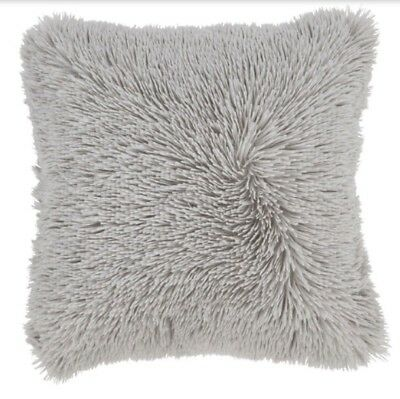 4 x CATHERINE LANSFIELD GREY FLUFFY LONG PILE CUSHION