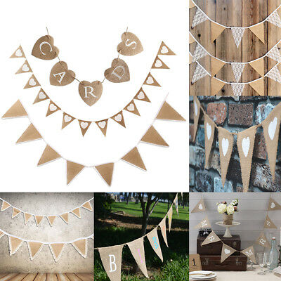 Hessian Bunting Flags Banner Rustic Burlap Banner Wedding Christmas Party Decor