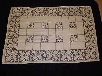Gorgeous Antique Embroidery & Cut-Work White Lace Tablecloth