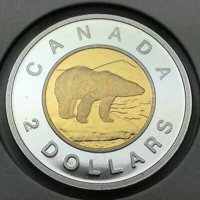 2012 Canada Proof Silver 2 Two Dollar Toonie Gold Plated Centre UNC Coin C291