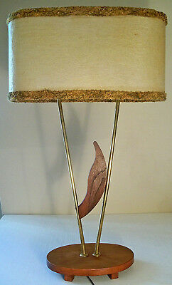 VTG MID CENTURY TEAK TABLE LAMP & ORIGINAL FIBERGLASS SHADE w/ CHENILLE TRIM 50s