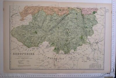 County Map Of South Shropshire 1904 Antique Map, Bacon's Atlas, Original, Salop
