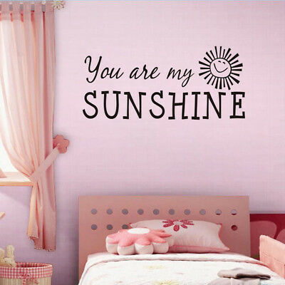 You Are My Sunshine Quote Wall Stickers Baby Room Flowers Kids Decal Vinyl Art