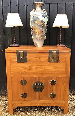 Eastern Teak Side Cabinet With Cupboard To Base