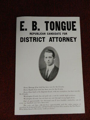 Antique Political Poster- E.b. Tongue For District Attorney- Early 1900'S- Excl.