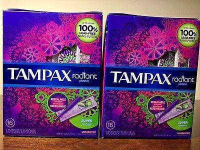 Pack of 2 TAMPAX radiant plastic SUPER absorbency 16 Tampons *** Unscented ***