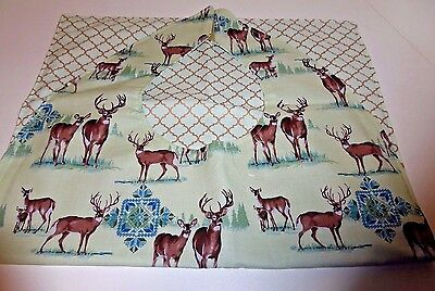 Adult Bibs/clothing protectors for adults, seniors, disabled;  DEER ON LT GREEN