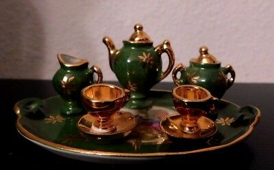 Rare   Miniature Limoges France Green And Gold Courting Couple Tea Set