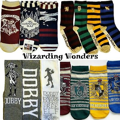 Harry Potter Ladies Socks Hogwarts Griffindor Slytherin Dobby Marauders Map