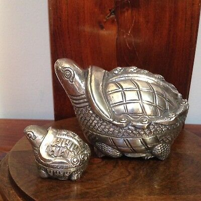 Set(2) Hand Carved 900 Sterling Silver Turtle Trinket Boxes-Great Details Pretty