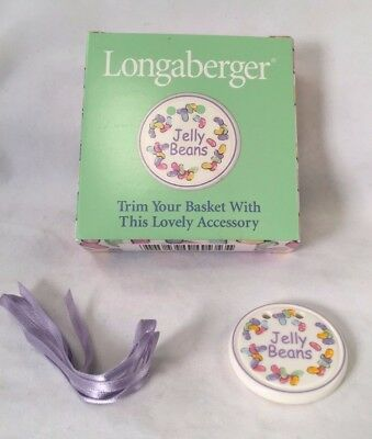 """Longaberger Basket Tie-On """"jelly Beans"""" 1999 Ornament With Box & Ribbon"""