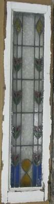 "LARGE OLD ENGLISH LEADED STAINED GLASS WINDOW Pretty Floral 10"" x 39.25"""