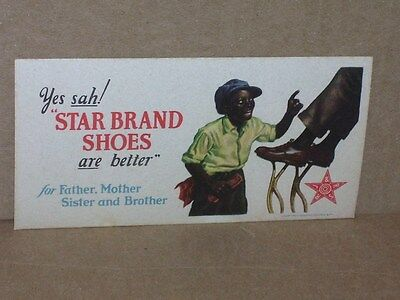 Yes sah! STAR BRAND SHOE SIGN -RARE ORIGINAL Too Politically Incorrect for today