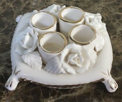 Vintage White & Gold Porcelain 4 Lipstick Holder Sculpted Flowers Design