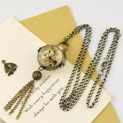 Antique Transparent Hand-winding Mechanical Chain Pocket Watch Gift Roman Number