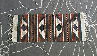 """Zapotec (?) Native Mexican Hand Woven Wool Traditional Rug Hanging 38.5""""x15.5"""""""