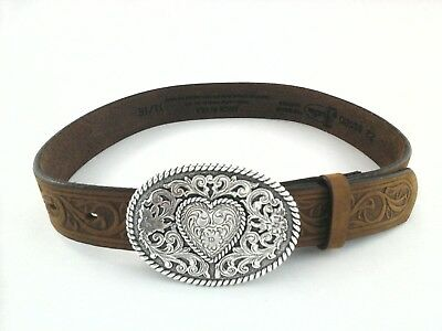 Justin 815BD Womens Cowgirl Western Heart Buckle Tooled Leather Belt Tan  28  30