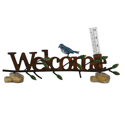 Rain Gauge Birds Welcome Metal Garden Sculpture Ornament