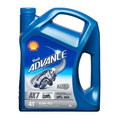 Motorcycle Engine Oil Shell Advance 4T AX7 SAE 10W40 Semi Synthetic 4L Litre